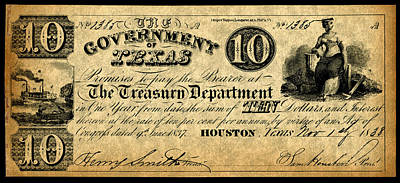 Republic Of Texas Painting - Texas Banknote, 1838 by Granger