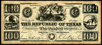 Republic Of Texas Painting - Texas Banknote, 1839 by Granger