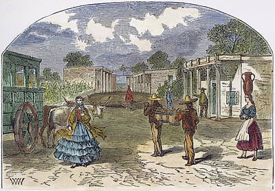 Mexican Town Painting - Texas El Paso, 1860s by Granger