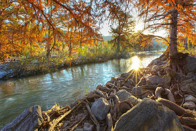 Images Of Trees Photograph - Texas Hill Country Images - Pedernales Falls State Park Sunrise  by Rob Greebon