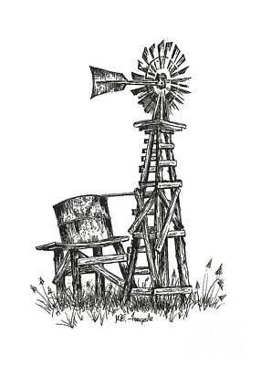 Drawing - Texas Windmill by Walt Foegelle