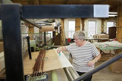Loom Photograph - Textile Mill Loom Operator by Jim West