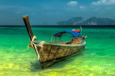 Land Digital Art - Thai Longboat by Adrian Evans