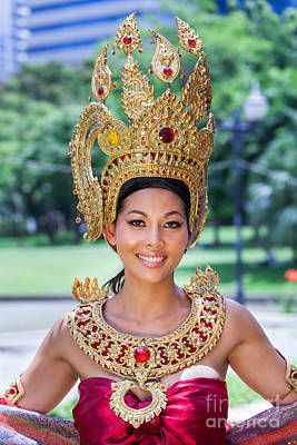 Thai Woman In Traditional Dress Art Print by Fototrav Print