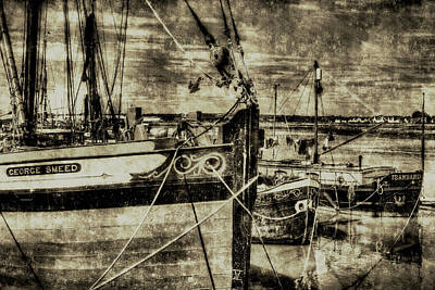 Thames Sailing Barges Vintage Art Print by David Pyatt