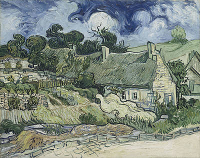 Van Gogh Painting - Thatched Cottages At Cordeville by Vincent Van Gogh