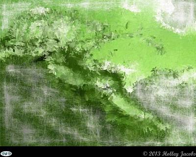 Digital Art - The Abyss Green by Holley Jacobs