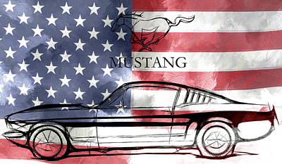 Mustang Car Painting - The American Dream by Steve K