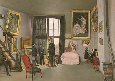 Artist At Work Painting - The Artist's Studio by Jean Frederic Bazille