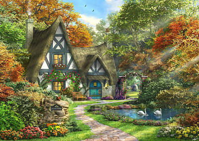Swans Drawing - The Autumn Cottage by Dominic Davison