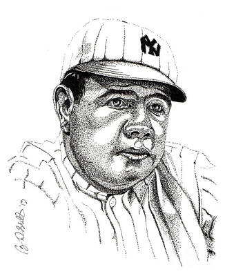 Baseball Drawing - The Babe by Cory Still