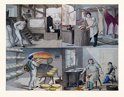 Handcrafted Drawing - The Bakery, The Butchers, The Shoemaker, 19th Century by English School