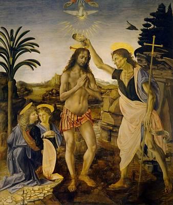 The Baptism Of Christ Art Print by Leonardo da Vinci