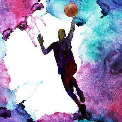 Basketball Player Painting - The Basket Player  by Celestial Images