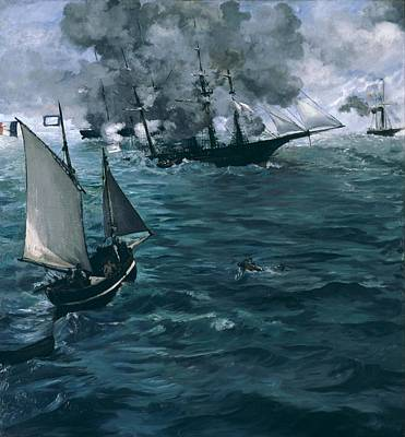 The Battle Of The U.s.s. Kearsarge And The C.s.s. Alabama Art Print by Edouard Manet