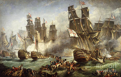 Weathered Painting - The Battle Of Trafalgar by English School
