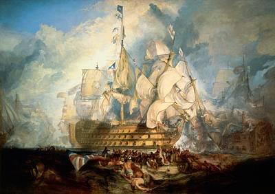 Battle Of Trafalgar Painting - The Battle Of Trafalgar by JMW Turner