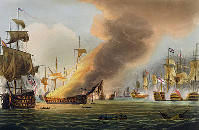 Navy Painting - The Battle Of Trafalgar by Thomas Whitcombe