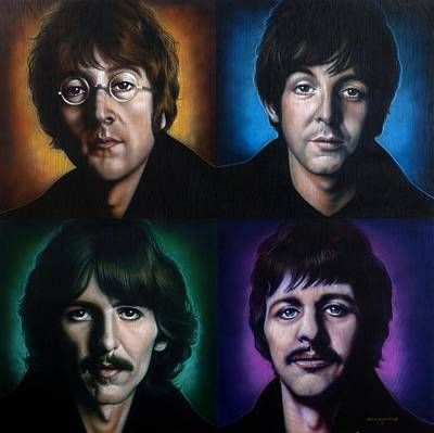 Mixed-media Painting - The Beatles by Tim  Scoggins