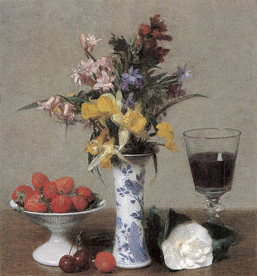Painting - The Betrothal Still Life by Henri Fantin-Latour