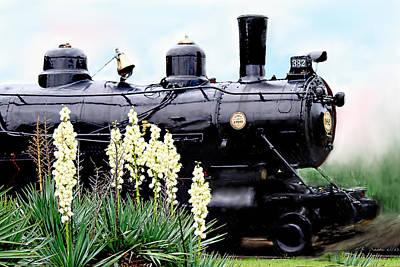 The Black Steam Engine Art Print by Bonnie Willis