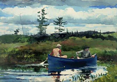 Beautiful Creek Painting - The Blue Boat by Mountain Dreams
