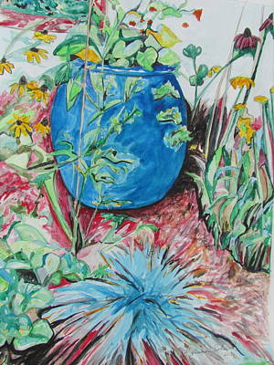 Painting - The Blue Flower Pot by Esther Newman-Cohen
