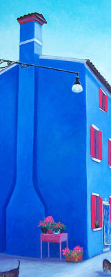 Naive Colors Painting - The Blue House Burano by Jan Matson