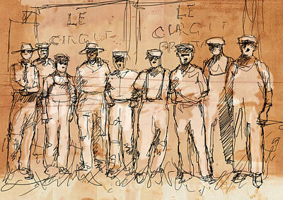 Ink Work Drawing - The Boys by H James Hoff
