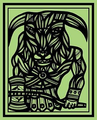 Minotaur Drawing - Barrie Minotaur Green Black by Eddie Alfaro