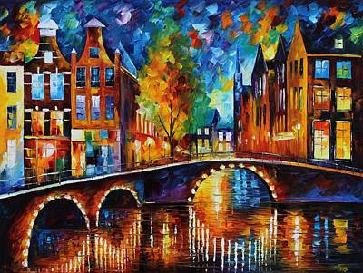 Unique Oil Painting - The Bridges Of Amsterdam by Leonid Afremov