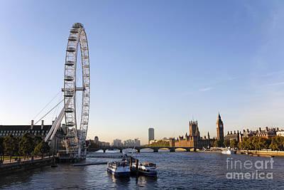 Airways Photograph - The British Airways London Eye And Big Ben In London England by Robert Preston