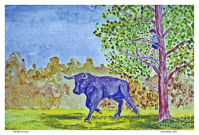 The Trees Mixed Media - The Bull Is Loose by Fred Jinkins