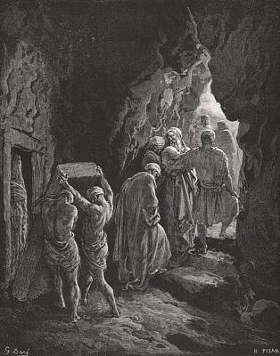 Tomb Drawing - The Burial Of Sarah by Gustave Dore