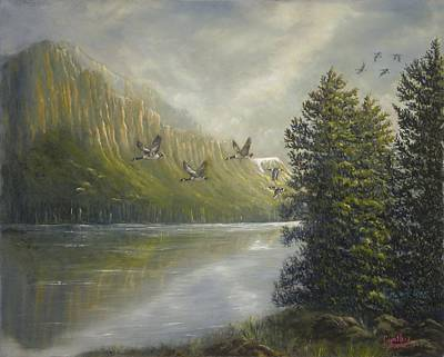 Canadian Geese Painting - Returning Home by Cynthia Barrow