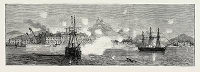 The Cartagena Insurrection, Spain The Bombardment Art Print by Spanish School