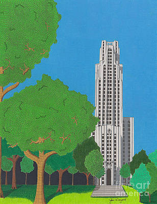Drawing - The Cathedral Of Learning by John Wiegand