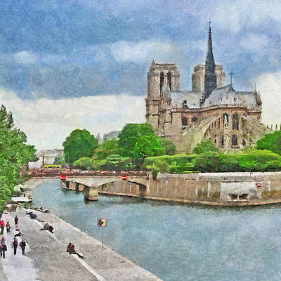 Digital Art - The Cathedral Of Notre Dame  by Digital Photographic Arts