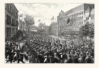 Philadelphia Street Drawing - The Centennial Celebration Of American Independence by American School