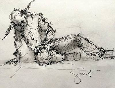 Gaul Drawing - The Clown by H James Hoff