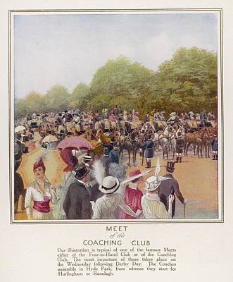 Hyde Park Drawing - The Coaching Club Meets In Hyde Park - by Mary Evans Picture Library