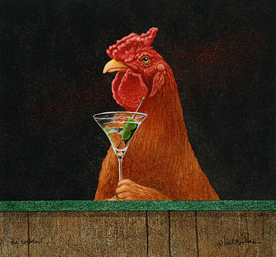 Rooster Painting - The Cocktail... by Will Bullas