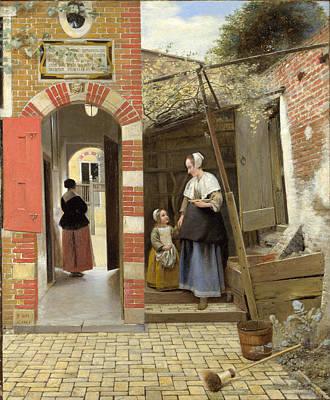 Pieter De Hooch Wall Art - Painting - The Courtyard Of A House In Delft by Pieter de Hooch