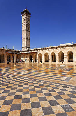 The Courtyard Of The Great Mosque In Aleppo Syria Art Print