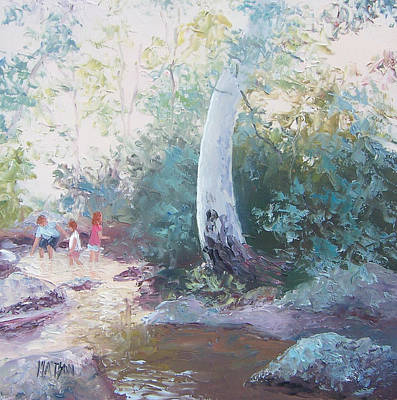 The Creek In The Forest Art Print by Jan Matson