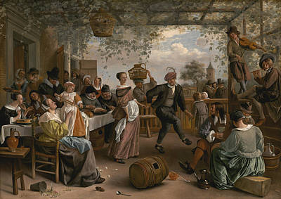 Wine Barrel Painting - The Dancing Couple by Jan Steen