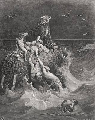 The Deluge Painting - The Deluge by Gustave Dore