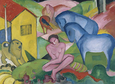 Franz Marc Painting - The Dream by Franz Marc