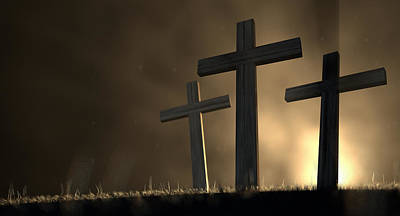 Eerie Digital Art - The Early Morning Crucifixion by Allan Swart