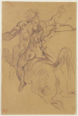 The Education Of Achilles Eugène Delacroix Print by Litz Collection
